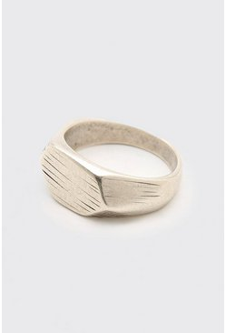 Silver Textured Signet Ring