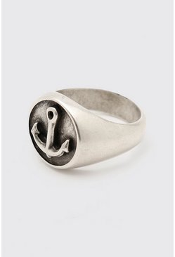 Silver Anchor Detail Signet Ring