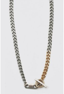 Multi Two Tone Chunky Chain With Toggle Detail