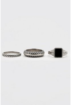 Silver 3 Pack Roman Ring Set