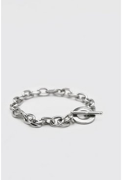 Silver Chunky Anchor Chain Bracelet With Toggle