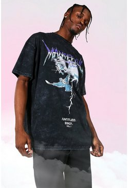 Charcoal grey Oversized Tour Print Acid Wash T-shirt