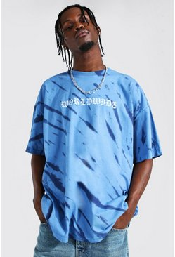 Navy Oversized Worldwide Tie Dye T-shirt