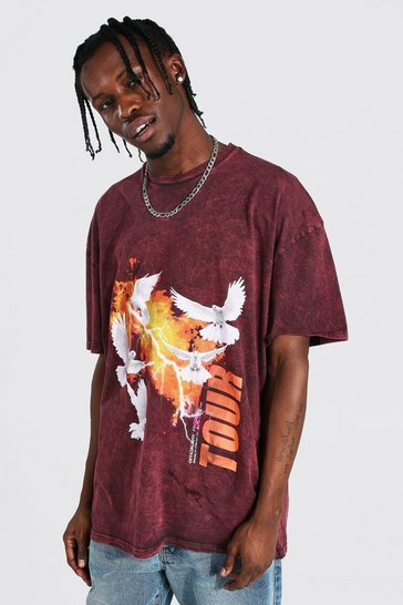 Brown Oversized Dove Print Acid Wash T-shirt