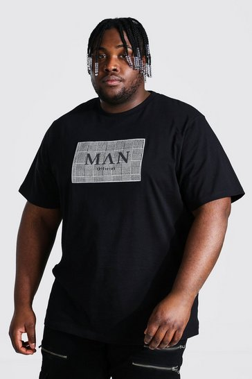 Black Plus Size Roman Man Jacquard Box T-shirt