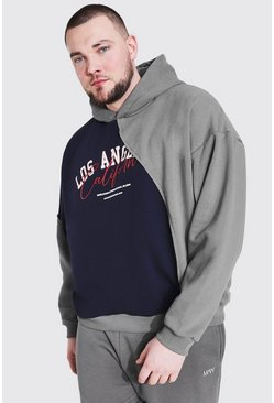 Navy Plus Size Spliced Varsity Print Hoodie