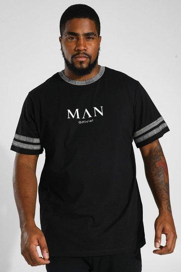Black Plus Size Man Roman Jacquard Panelled T-shirt