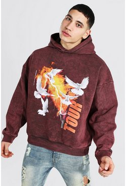 Brown Oversized Dove Print Acid Wash Hoodie