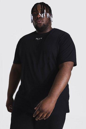 Black Plus Size Man Roman Tab T-shirt