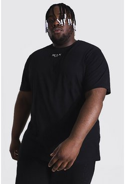 Black Plus Size Man Roman Tab T-shirt