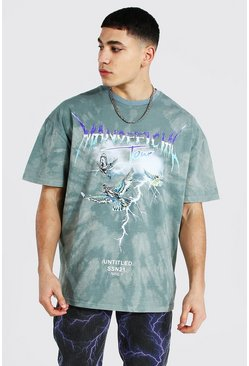 Green Oversized Tour Print Tie Dye T-shirt