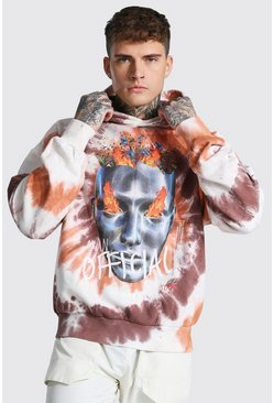 Brown Oversized Official Print Tie Dye Hoodie