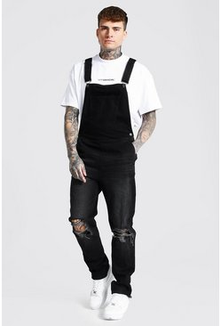 Washed black Slim Fit Long Dungaree With Zip Hem