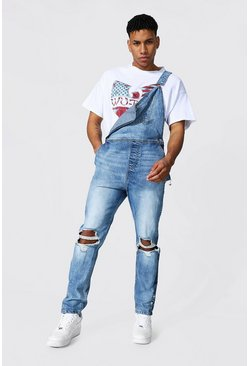 Slim Fit Long Dungaree With Popper Hem, Light blue blau