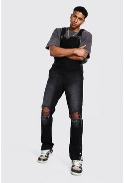 Washed black Slim Fit Long Dungaree With Popper Hem