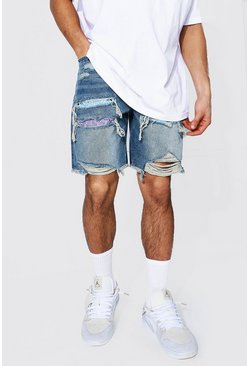 Light blue blue Loose Fit Rip & Repair Denim Short