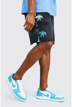 Washed black Relaxed Fit Palm Print Denim Short