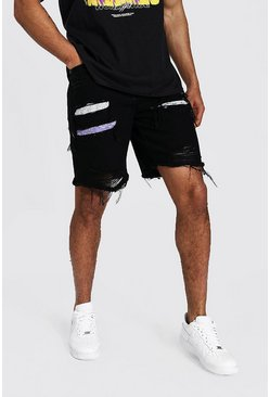 True black Loose Fit Rip & Repair Denim Short