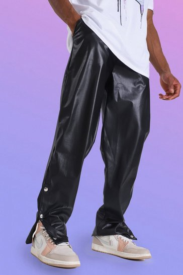 Black Pu Straight Leg Popper Hem Trouser