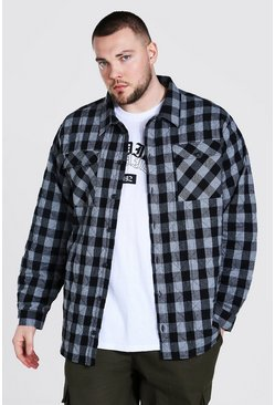Charcoal grey Plus Size Quilted Check Shirt