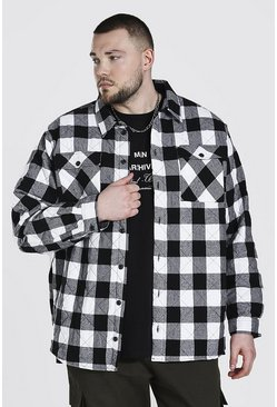 Black Plus Size Quilted Check Shirt