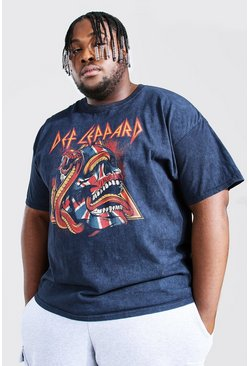 Black Plus Size Acid Wash Def Lep License T-shirt