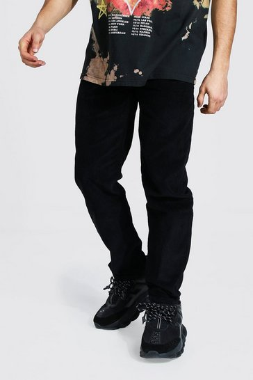 Black Relaxed Fit Corduroy Trouser