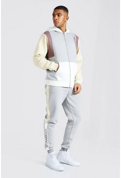 Taupe beige Man Official Colour Block Zip Hood Tracksuit