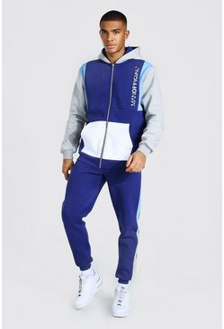 Navy Man Official Colour Block Zip Hood Tracksuit