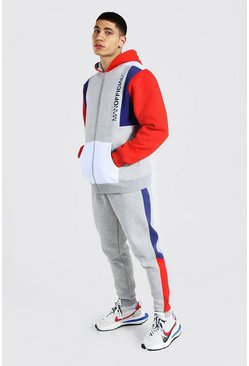Red Man Official Colour Block Zip Hood Tracksuit