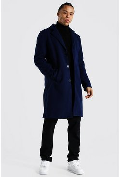 Navy Tall Summer Wool Overcoat