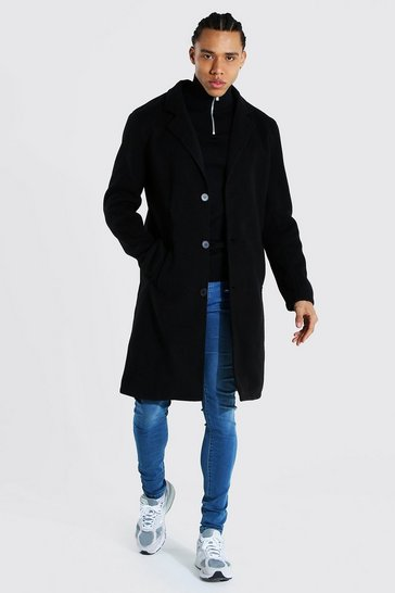 Black Tall Summer Wool Overcoat