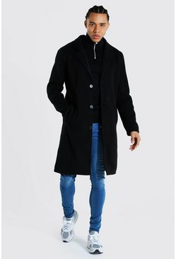 Black Tall Summer Wool Overcoat