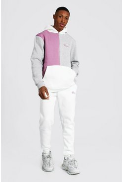 Mauve purple  Official Man Colour Block Hooded Tracksuit
