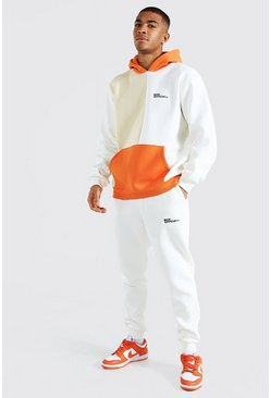 Orange  Official Man Colour Block Hooded Tracksuit