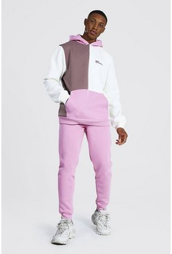 Pink  Official Man Colour Block Hooded Tracksuit