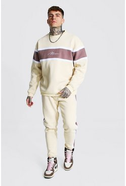 Taupe beige Man Colour Block Sweater Tracksuit