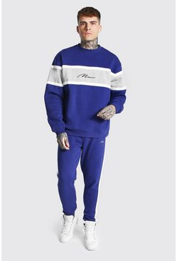 Navy Man Colour Block Sweater Tracksuit