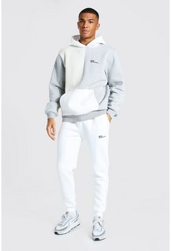 Stone beige  Official Man Colour Block Hooded Tracksuit
