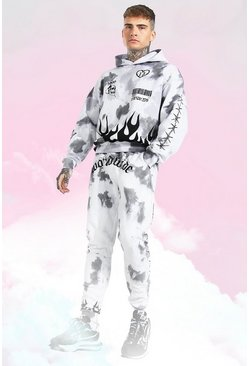 Grey Oversized Tie Dye Graffiti Hooded Tracksuit