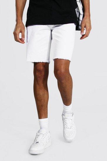 White Tall Slim Rigid Denim Short With Raw Hem