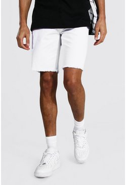 White Tall Slim Rigid Denim Short With Raw Hem