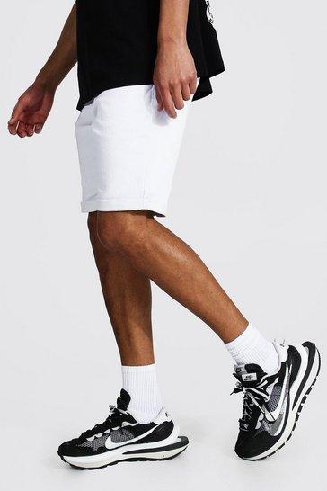 White Tall Skinny Fit Denim Shorts