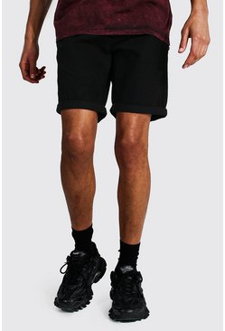 Black Tall Slim Rigid Denim Short With Turn Up