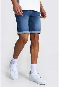 Mid blue blue Tall Skinny Fit Denim Shorts