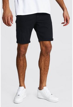 Black Tall Skinny Fit Chino Shorts