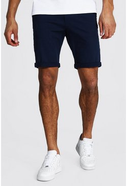 Navy marinblå Tall - Chinoshorts i skinny fit