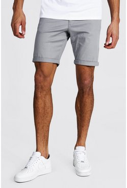 Tall Skinny-Fit Chino-Shorts, Grau