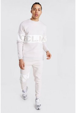 Stone beige Tall Man Colour Block Sweater Tracksuit