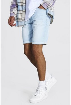 Light blue blue Tall Slim Rigid Denim Short With Turn Up